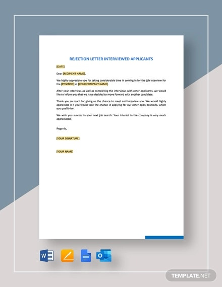 rejection letter interviewed applicants template