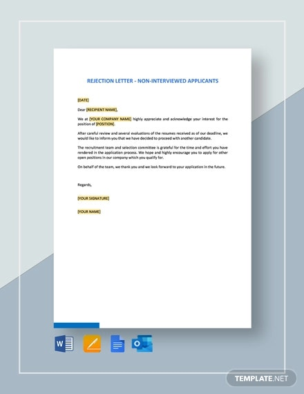 rejection letter non interviewed applicants template