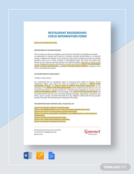 restaurant background check information form template