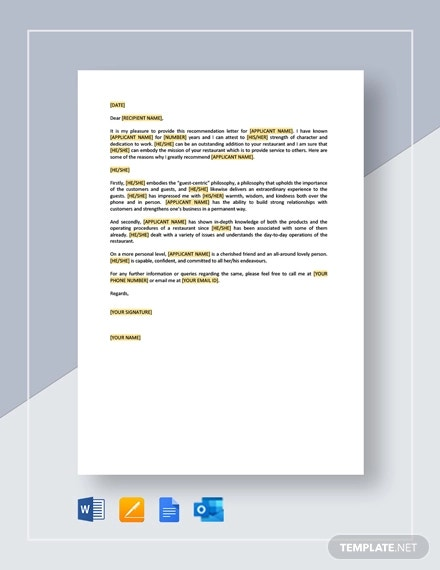 restaurant employee personal recommendation letter