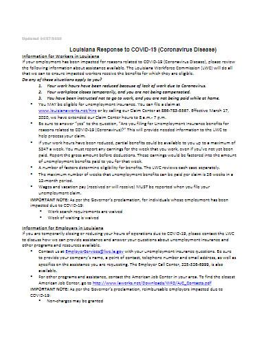 sample covid 19 coronavirus disease unemployment template