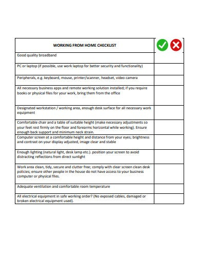 sample work from home checklist template