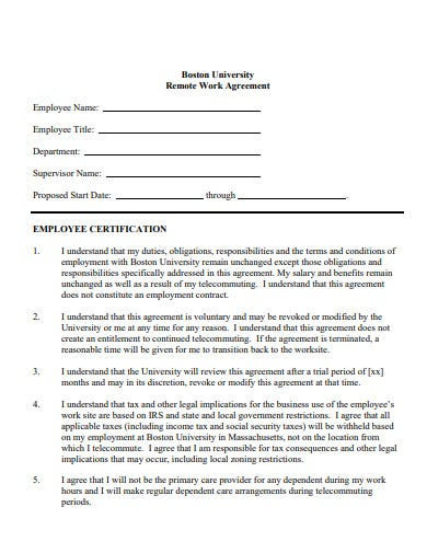sample work from home agreement template