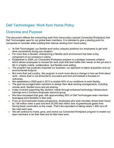 sample work from home policy template