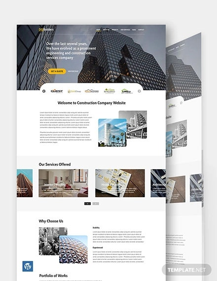 simple construction wordpress template