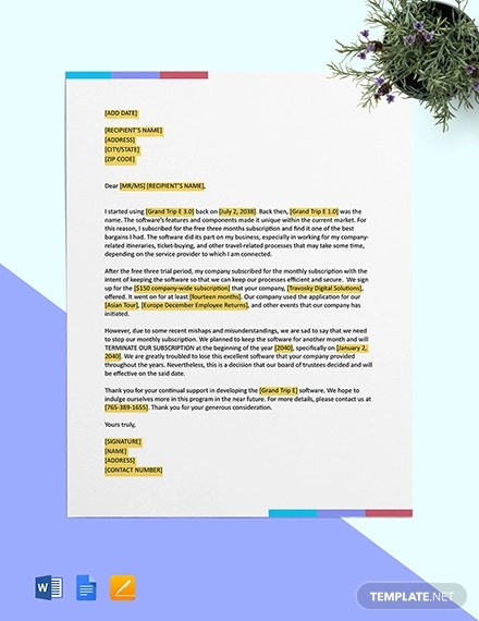 software subscription termination letter template