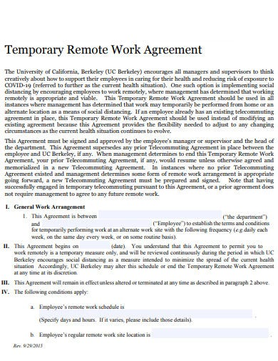 temporary remote work agreement template