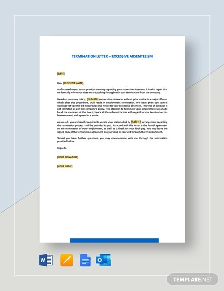 termination letter excessive absenteeism template