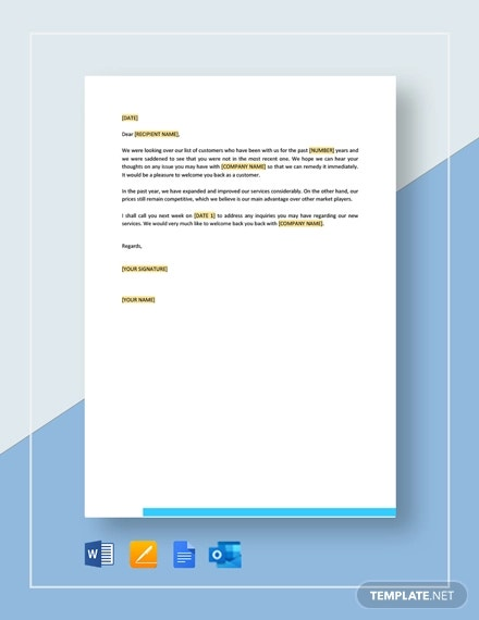 we would like to welcome you back as a customer template