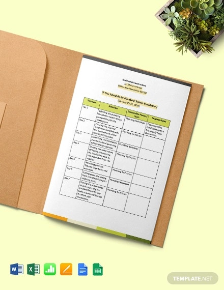 weekly residential construction schedule template