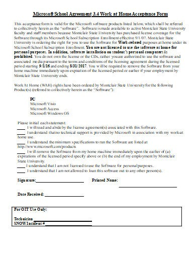 work from home acceptance application form