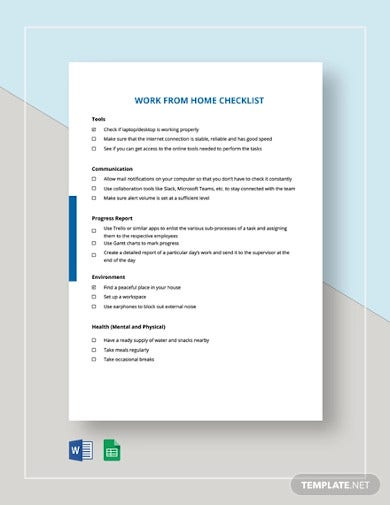 work from home checklist template