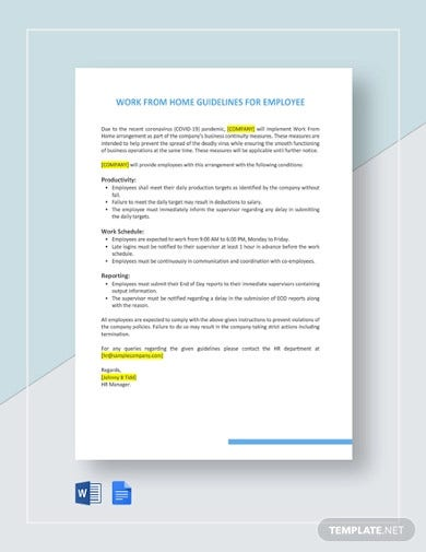 work from home guidelines for employees template