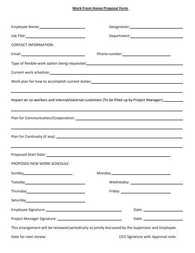 work from home proposal form template