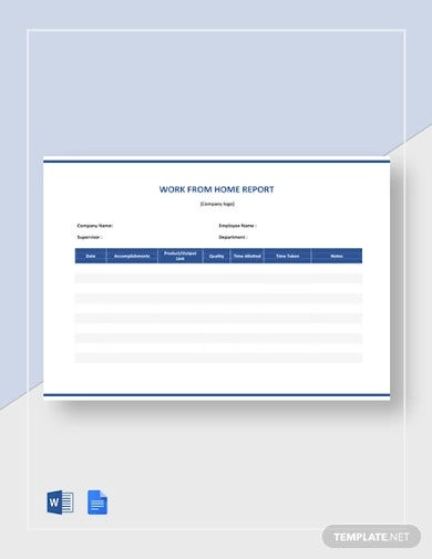 work from home report template