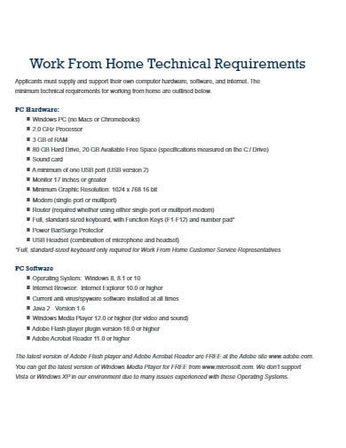 work from home technical requirements