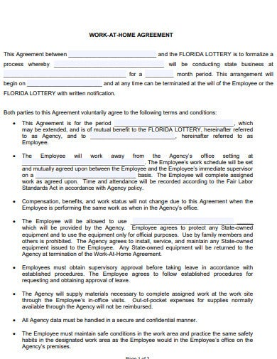 work at home agreement template