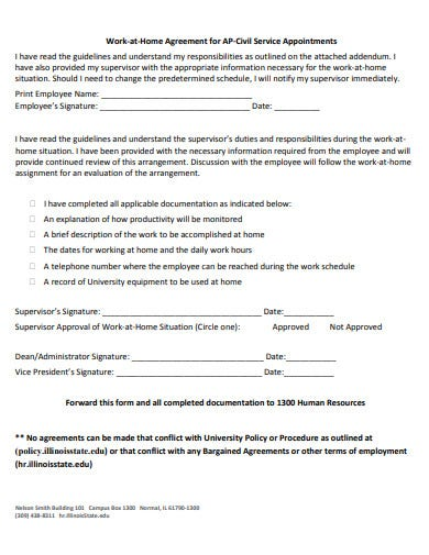 work at home agreement in pdf