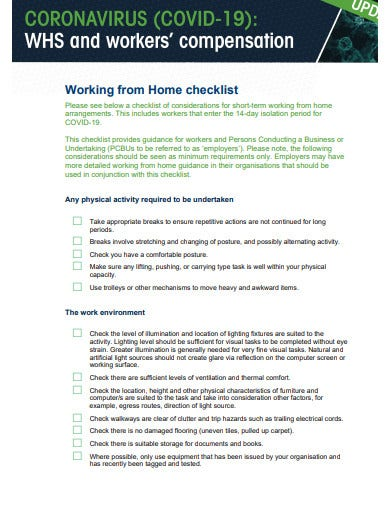 working from home checklist form