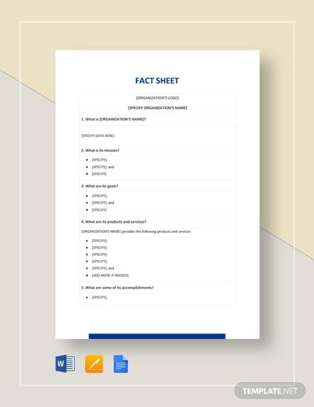 blank fact sheet template
