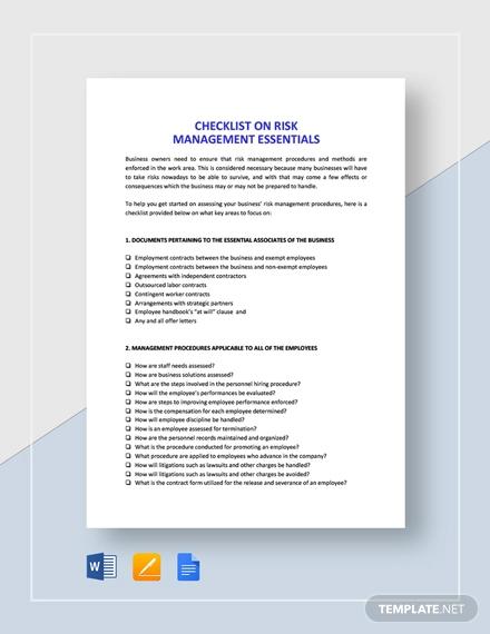 checklist risk management essentials template
