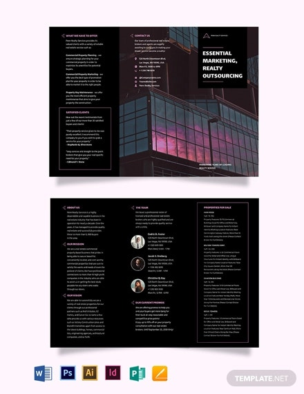 commercial real estate marketing tri fold brochure template