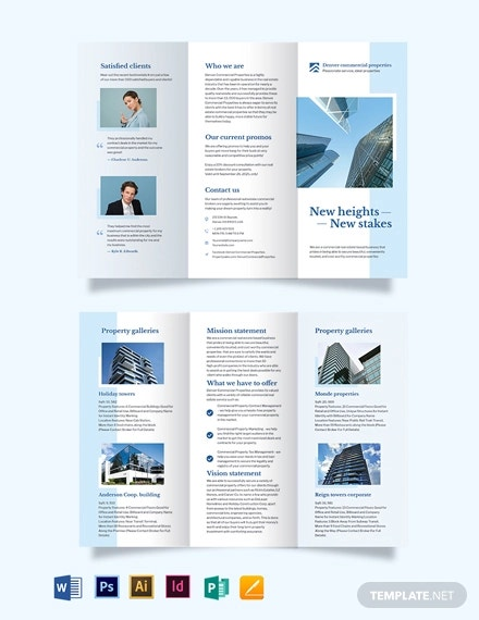 commercial real estate tri fold brochure template
