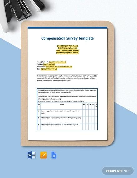 compensation survey template