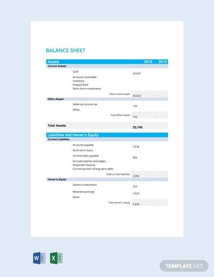free balance sheet template