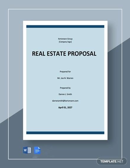 free basic real estate proposal template