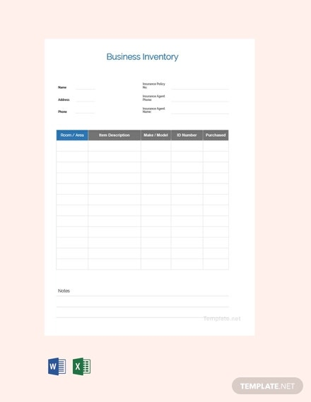 free business inventory template
