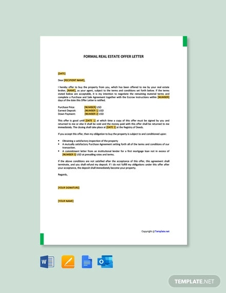 free formal real estate offer letter