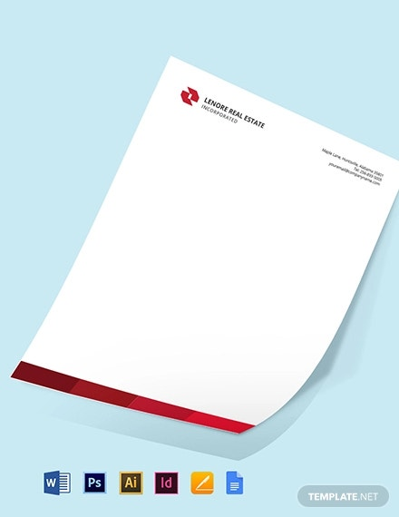 free professional real estate letterhead template