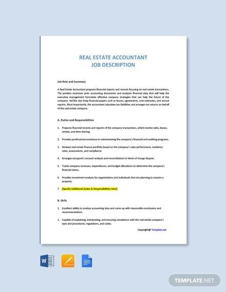 free real estate accountant job description template