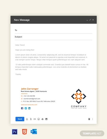 free real estate agent email signature template