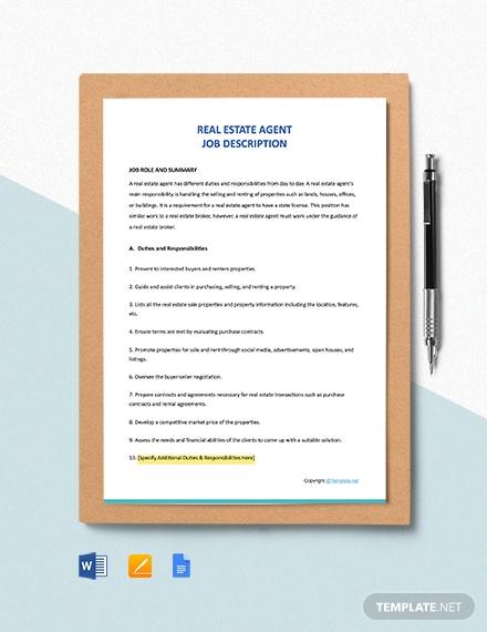 free real estate agent job description template1