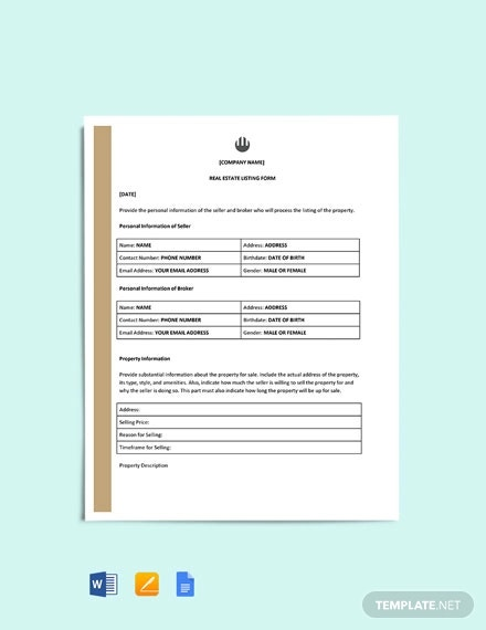 free real estate listing form template