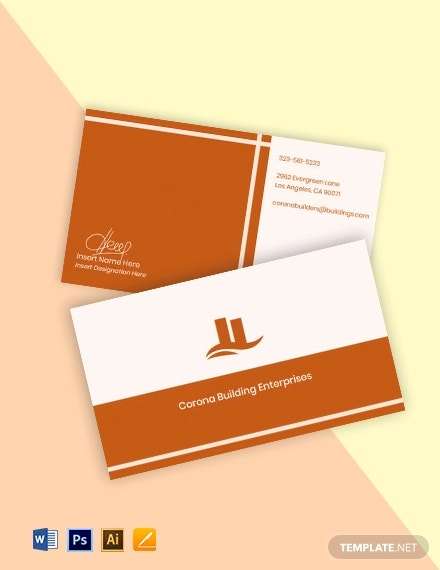free sample real estate business card template