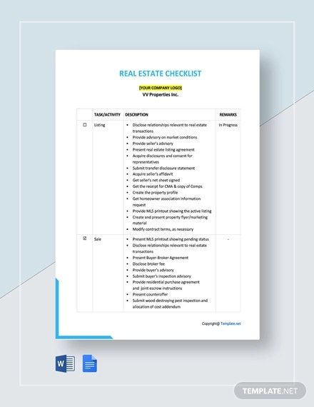 free sample real estate checklist template