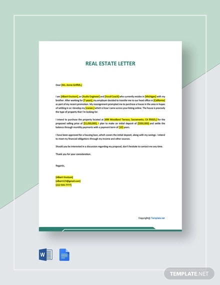 free sample real estate letter template1