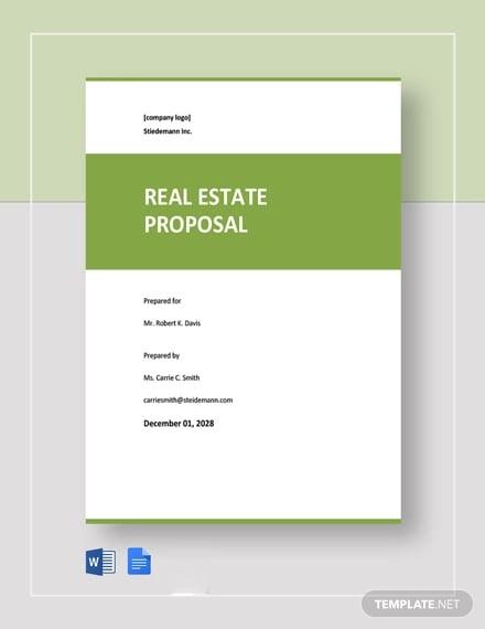 free sample real estate proposal template
