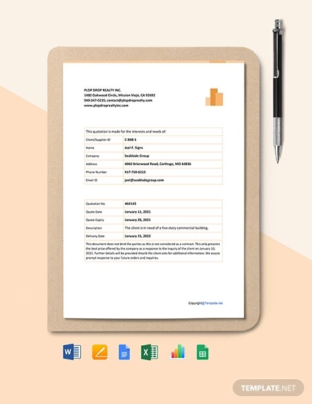 free sample real estate quotation template