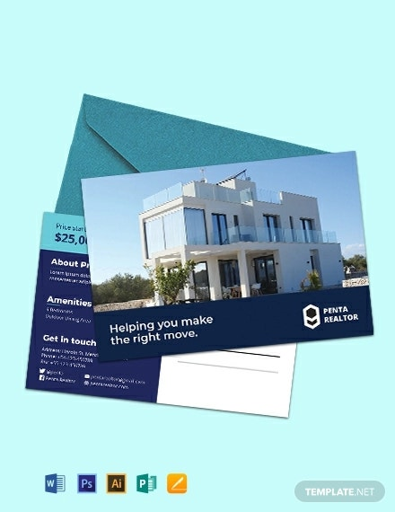 free sample realtor postcard template