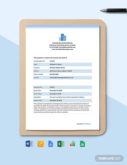 free simple real estate quotation template