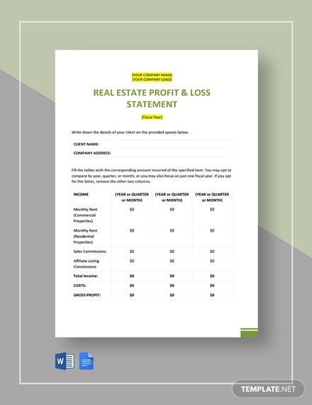 free simple real estate statement template