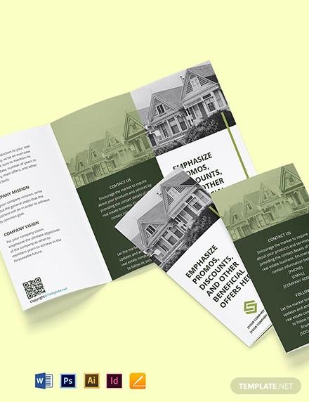 free tri fold landscape real estate brochure template
