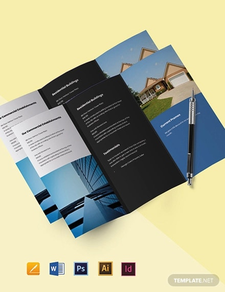 free tri fold minimalist real estate brochure template1