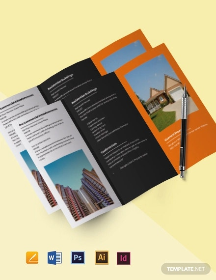 free tri fold real estate services brochure template