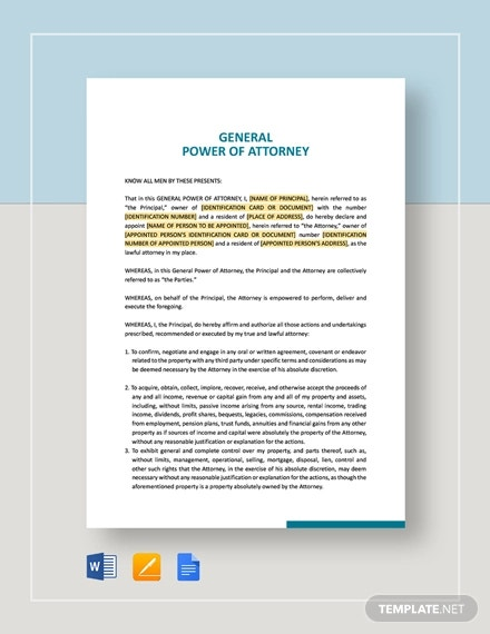 general power of attorney template