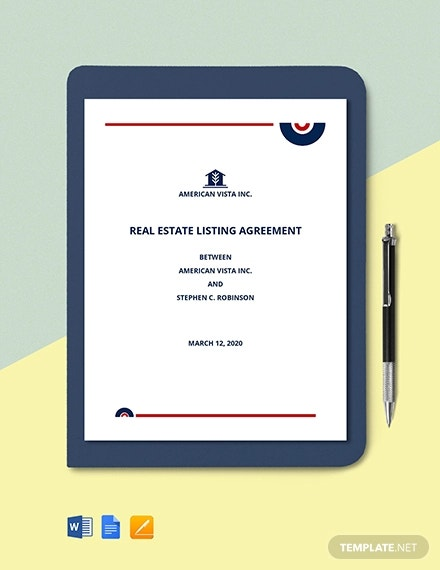 real estate agent listing agreement template1
